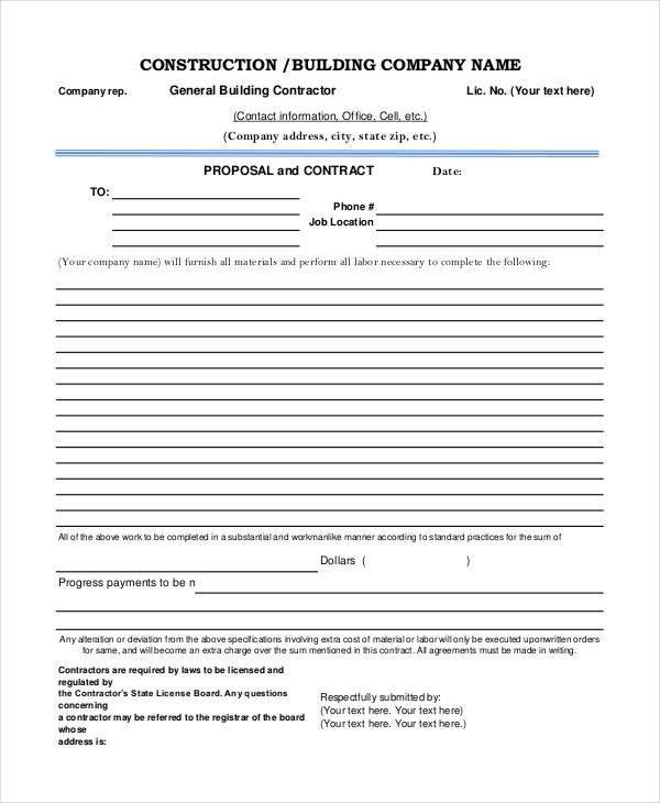 Construction Project Proposal Templates - 6+ Free PDF Format ...