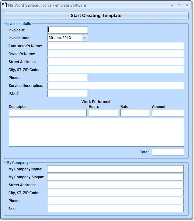 MS Word Service Invoice Template Software 7.0 Download