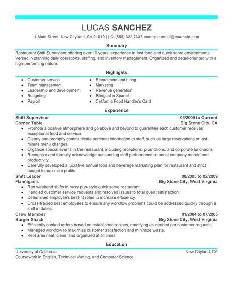 Best Shift Supervisor Resume Example | LiveCareer