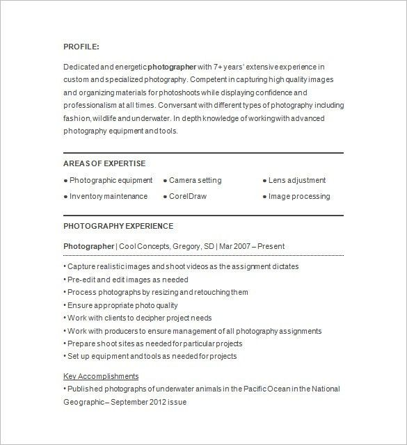 Photographer Resume Template – 17+ Free Samples, Examples, Format ...