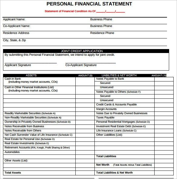 Sample Personal Financial Statement Form - 7+ Download Free ...