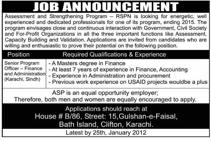Assessment and Strengthening Program (ASP) RSPN Karachi Required ...