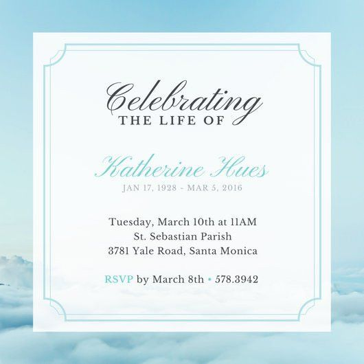 Sky Celebration of Life Invitation - Templates by Canva