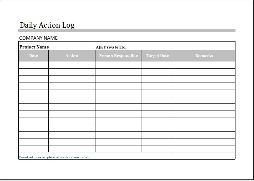 Daily Action Log Template for MS Excel | Document Templates