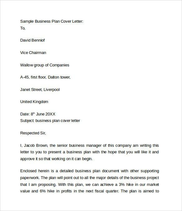 Sample Cover Letter For Business Plan