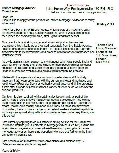Trainee Mortgage Advisor Cover Letter Example - forums.learnist.org