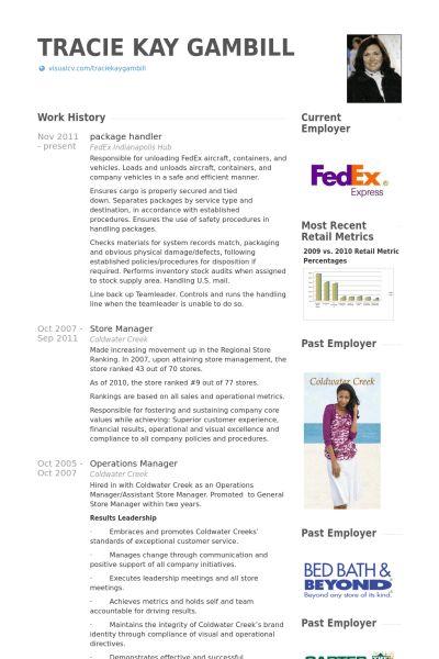 Package Handler Resume samples - VisualCV resume samples database