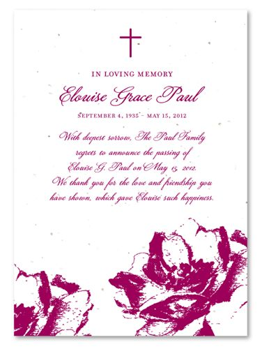 Funeral Announcements Poppy on Seeded Paper ~ Hand-drawn Poppies ...