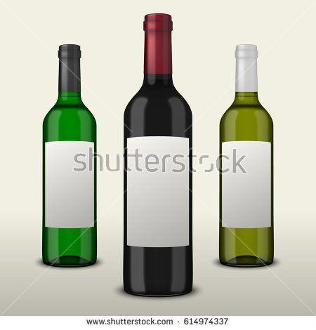 Red White Wine Bottles On White Stock Vector 554477314 - Shutterstock