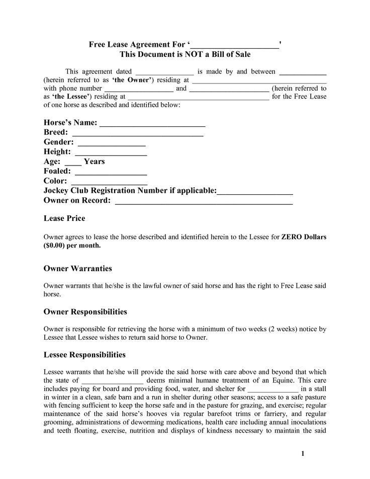Horse Lease Agreements. Horse Lease Contract Template Word Free ...
