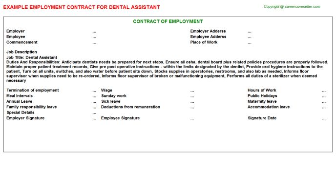 Dental Assistant Employment Contracts