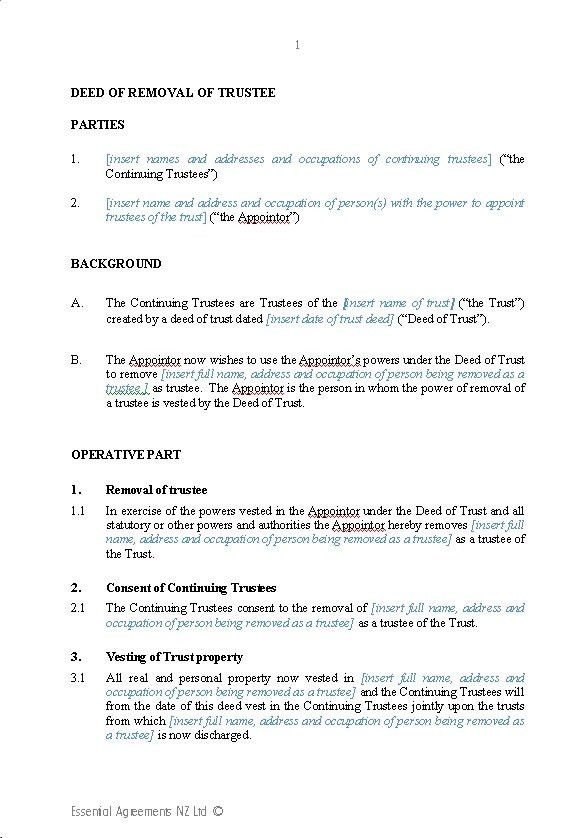 Wills & Trusts – Trusts | New Zealand Legal Documents, agreements ...