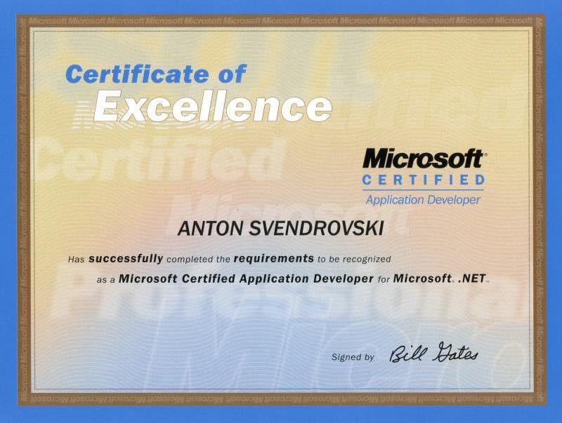 Website of Anton Svendrovski - Professional Certification