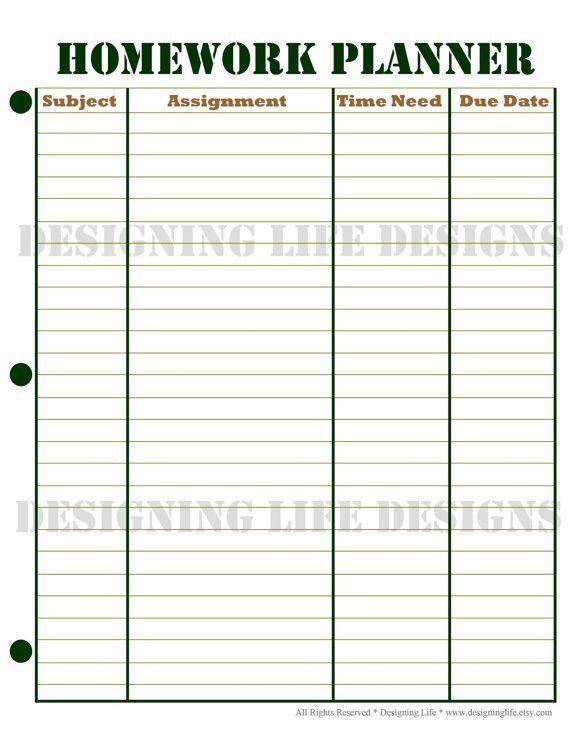 Homework Planner and Weekly Homework Sheet by DesigningLife ...