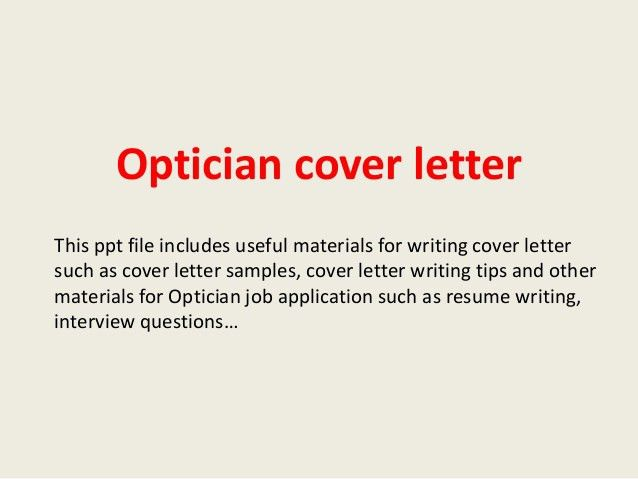 optical assistant cover letter sample. cover letter sample ...