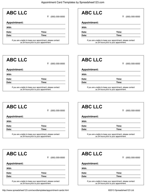 contact card template for word