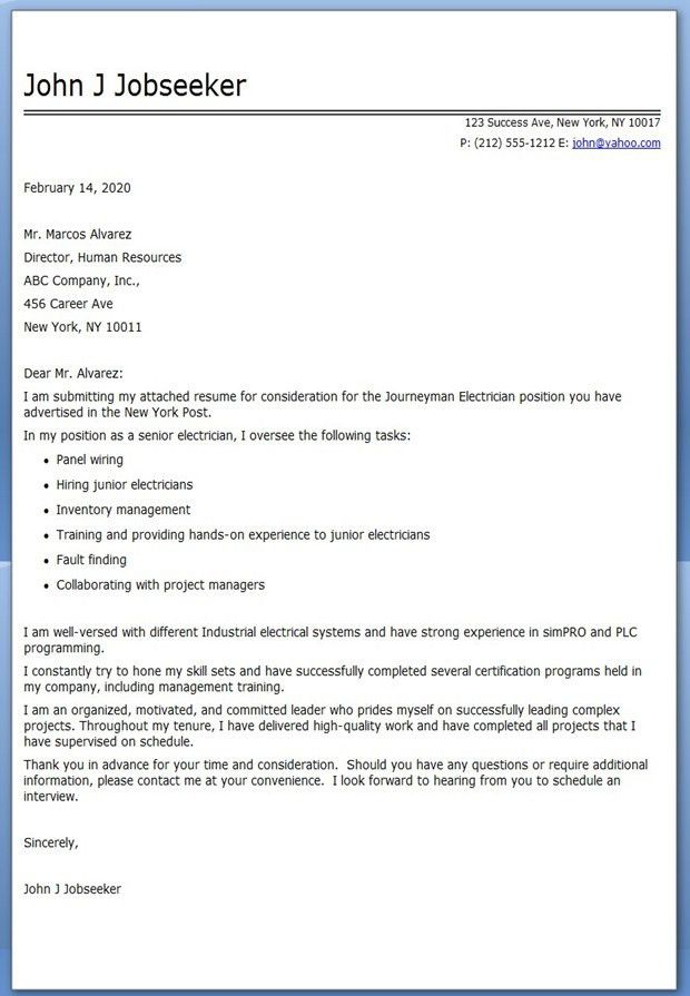 Journeyman Electrician Cover Letter Examples | Creative Resume ...