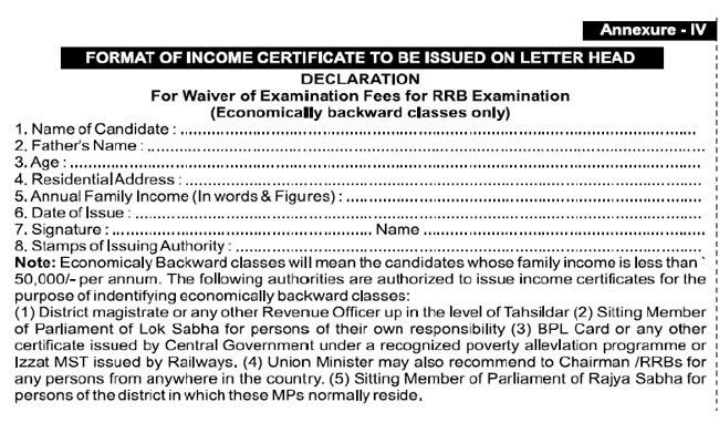 Download) Format of Income Certificate for Indian Railway ...