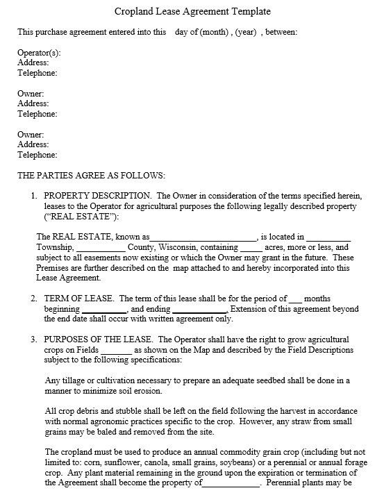 12 Free Sample Professional Farm Land Lease Agreement Templates ...