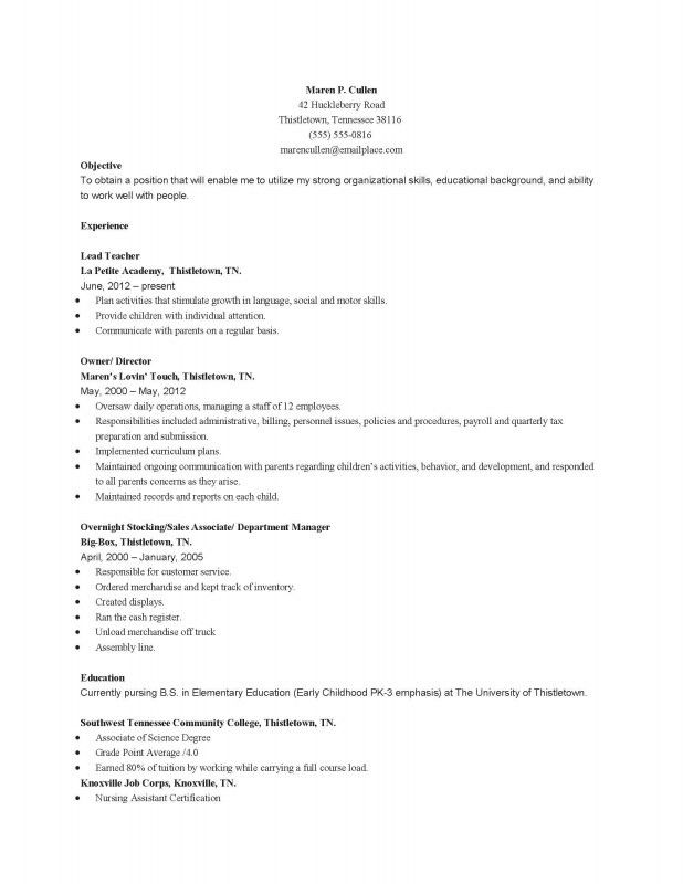 Resume For Early Childhood Education | Samples Of Resumes