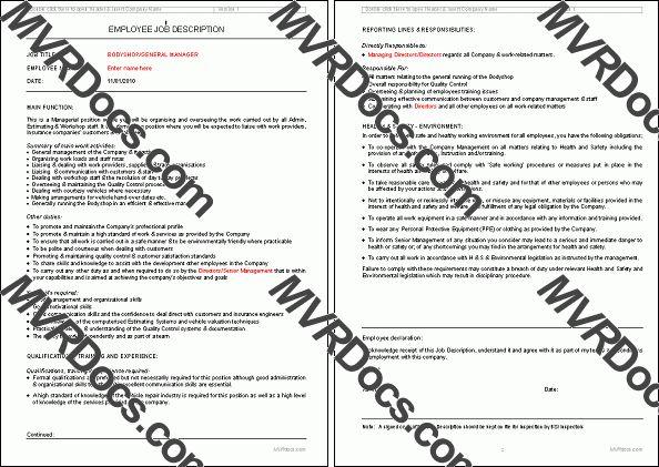 Bodyshop Manager Job Description - PAS 125 :