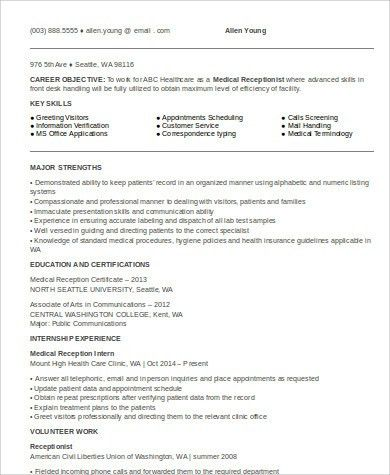 Sample Entry Level Medical Resume   6+ Examples In Word, PDF