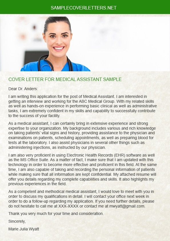 Cover Letter for Medical Assistant Sample | Sample Cover Letters