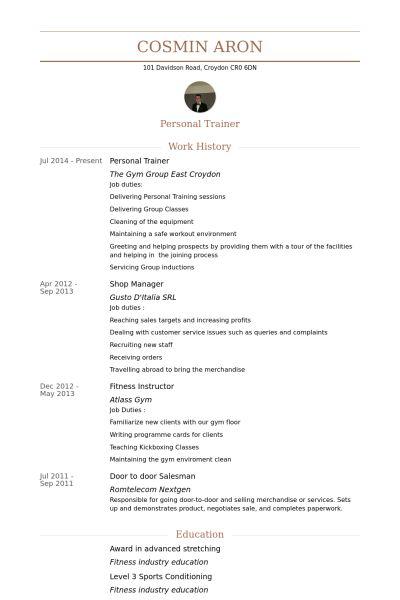 Personal Trainer Resume | Resume Badak