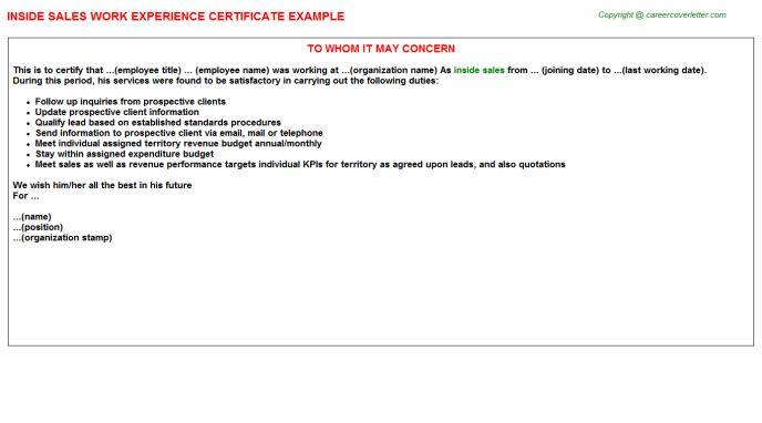 sample inside sales cover letter