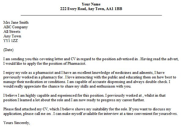Pharmacist Cover Letter Example - lettercv.com