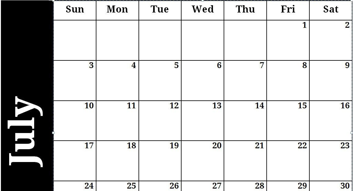 Blank-July-2011-Word-Calendar-Template
