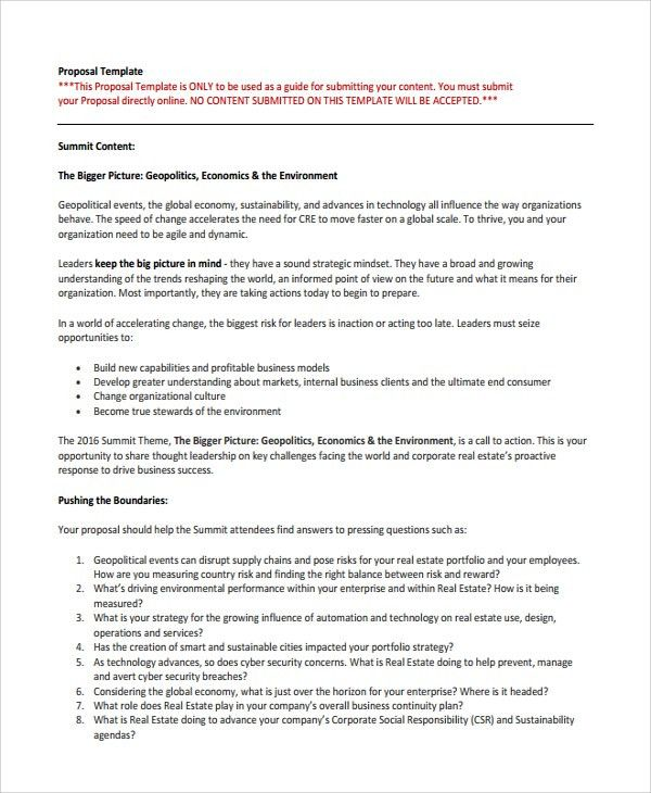 Sample Real Estate Proposal Template - 7+ Free Documents Download ...