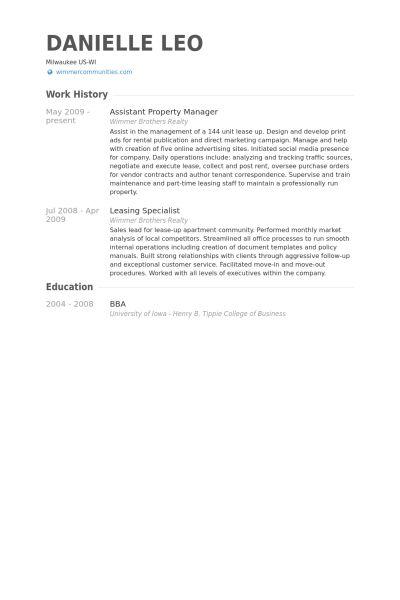 Assistant Property Manager Resume samples - VisualCV resume ...