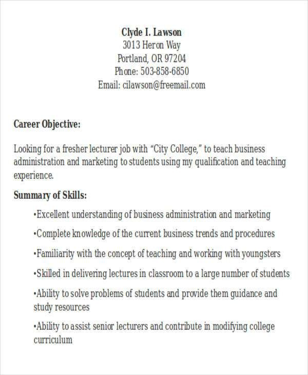Resume For Lecturer Jobs In Engineering Colleges. best resume for ...