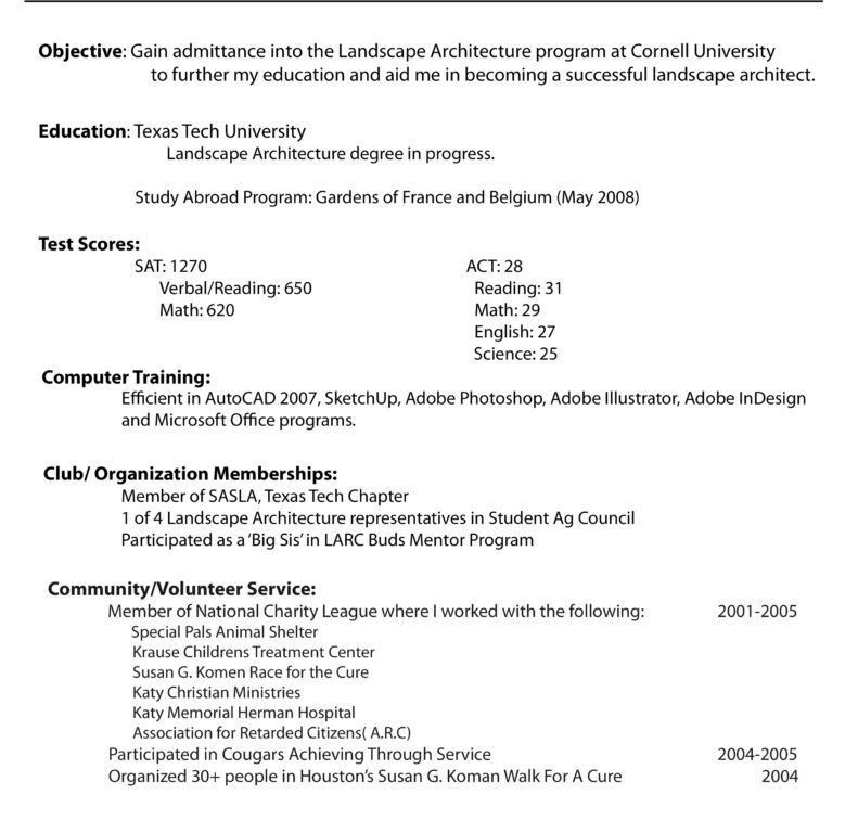 cornell sample resumes