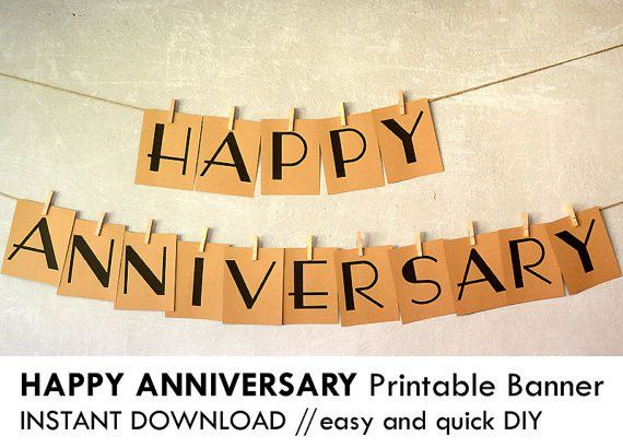 DIY printable HAPPY ANNIVERSARY banner, Prints on 8.5 x 11 card ...