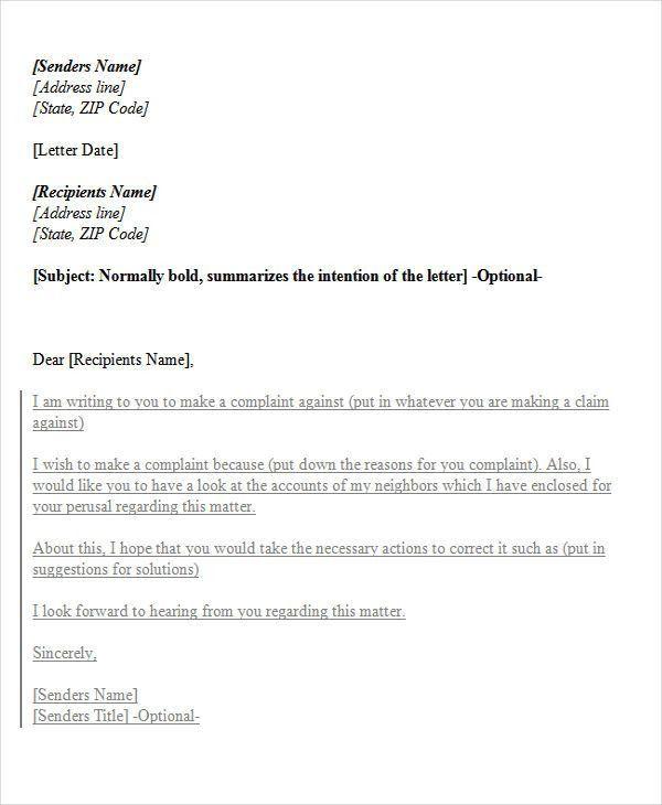 34+ Complaint Letter Templates | Free & Premium Templates