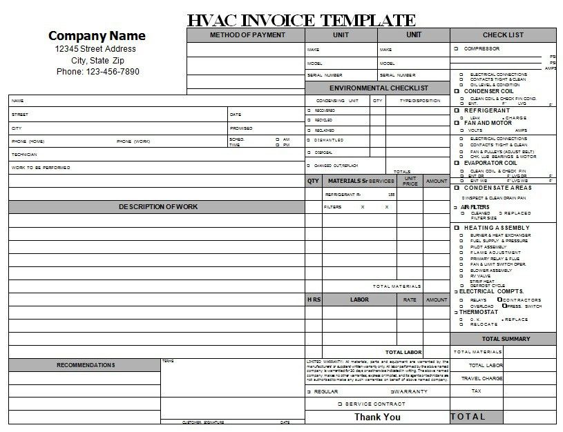 HVAC Repair Invoice Download | HVAC Invoice Templates | Pinterest ...