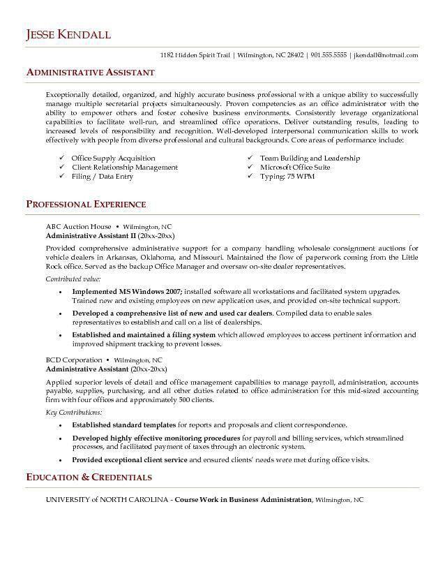 Administrative Assistant Resume Objective | berathen.Com