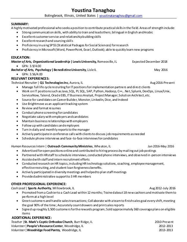Technical Recruiter Resume Summary. t format cover letters ...
