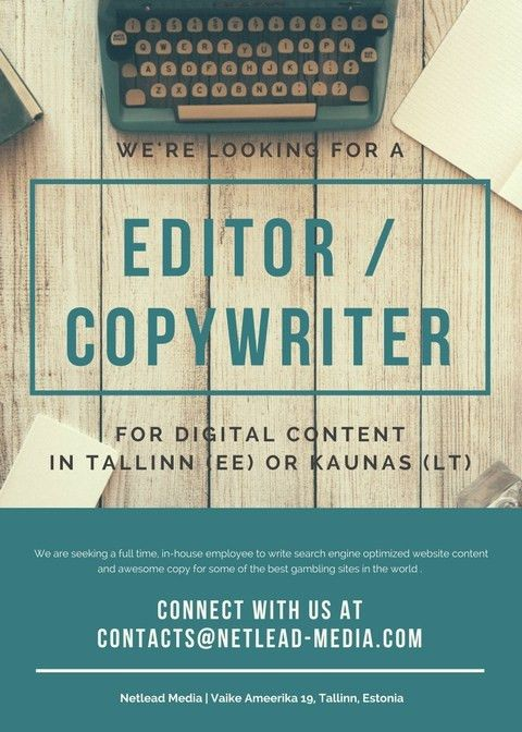 Work as an English Copywriter / Editor in Estonia