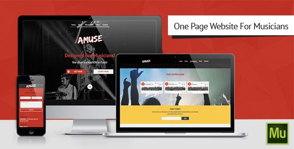 Amuse-Adobe Muse Music Template by Pixelosaur | ThemeForest