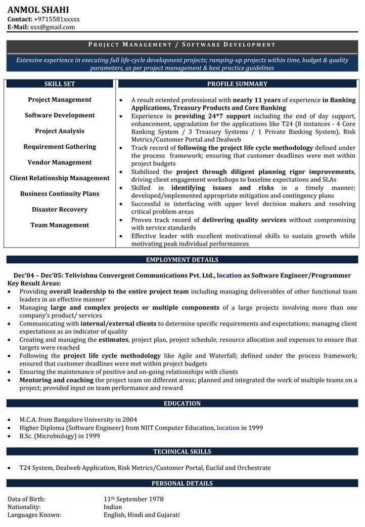 Software Developer Resume Samples | Sample Resume for Software ...