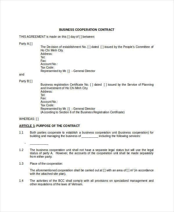 Business Contract Template - 7+ Free Word, PDF Documents Download ...