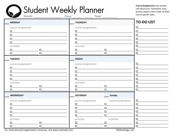 day planner printable | student planners student daily planner ...