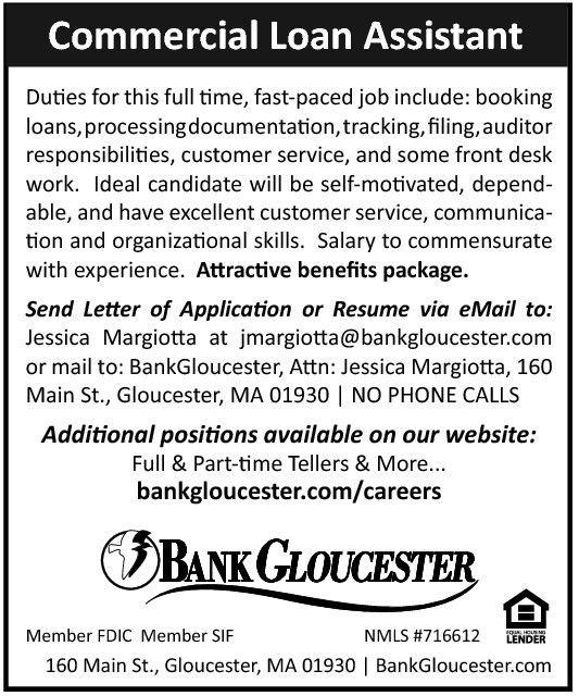 COMMERCIAL LOAN ASSISTANT job at BANK GLOUCESTER | Monster.com