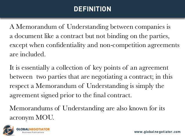 MEMORANDUM OF UNDERSTANDING - Models for business negotiations