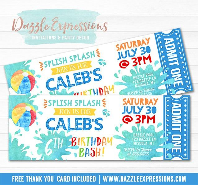 Printable Watercolor Pool Party Ticket Birthday Invitation ...