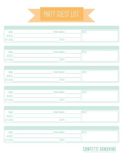 Guest List Chart ~ Keep track of your guests addresses, if they ...