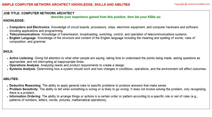 Computer Network Architect Knowledge & Skills